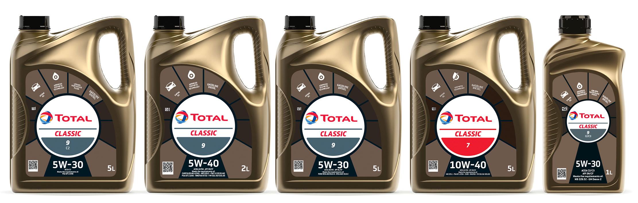 Линейка моторных масел TOTAL CLASSIC обновила дизайн упаковки